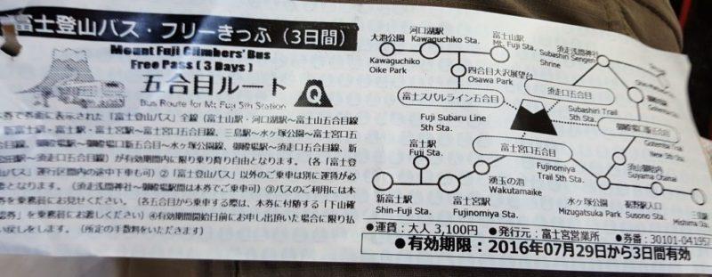 富士登山バス、フリーチケット