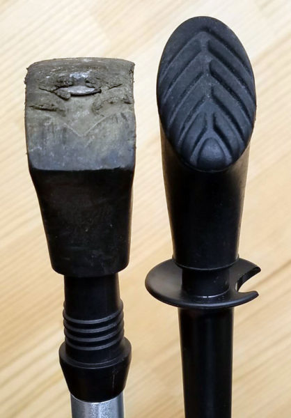 ナイト工芸ノルディックポールの先ゴム比較